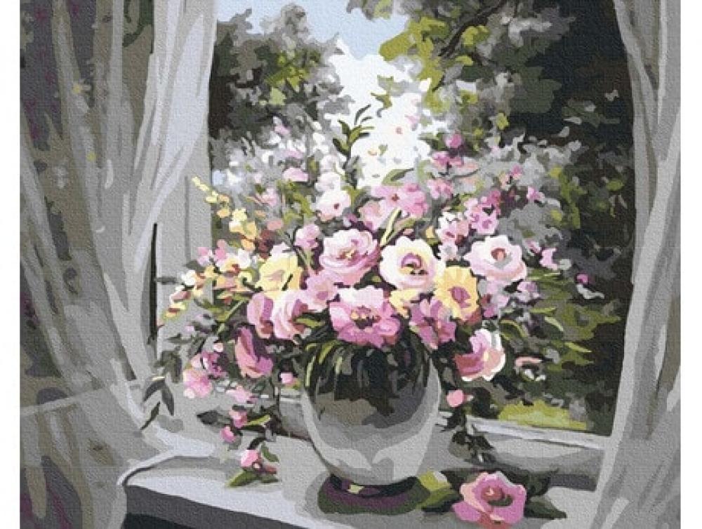 Pictură pe numere - Flori la fereastră 40 x 50 cm