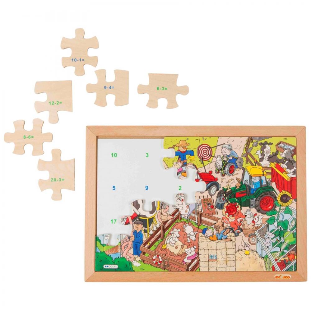Puzzle cu 24 piese - Învață scăderea
