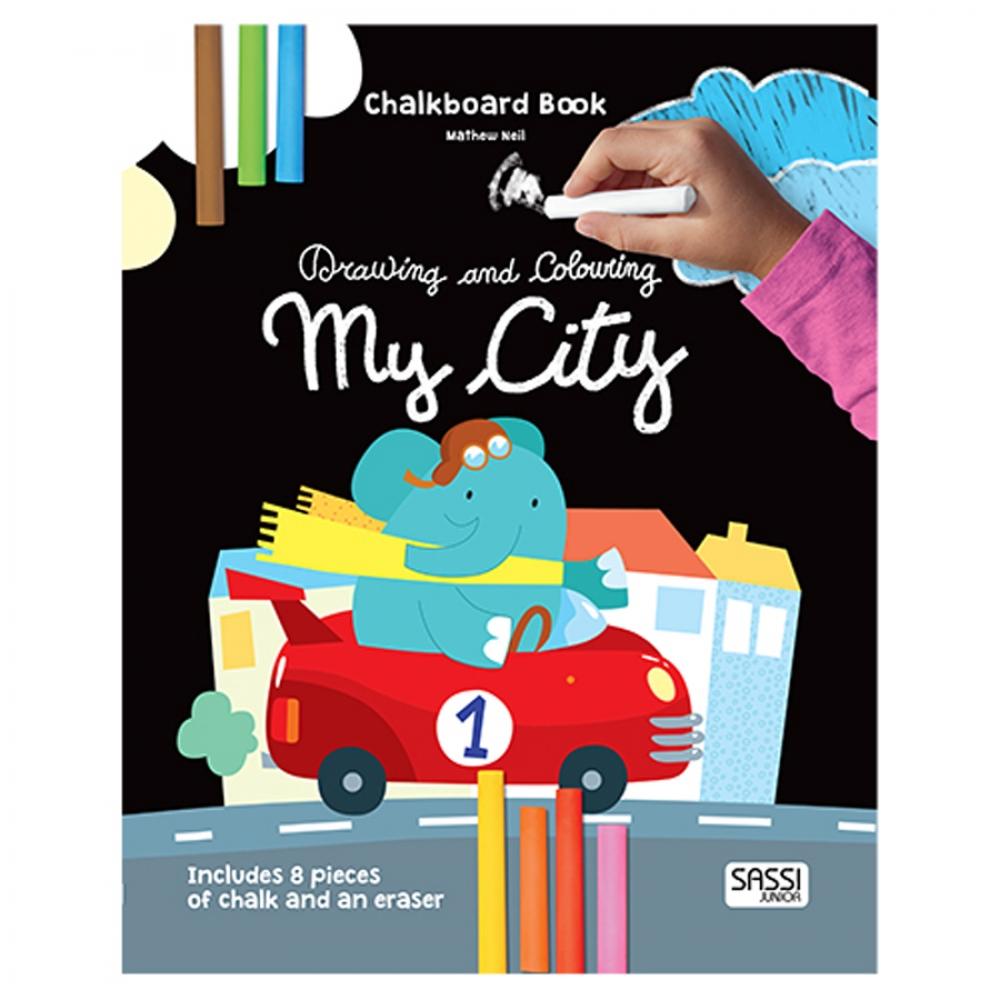 Carte de desenat și de colorat cu creta - Orașul meu
