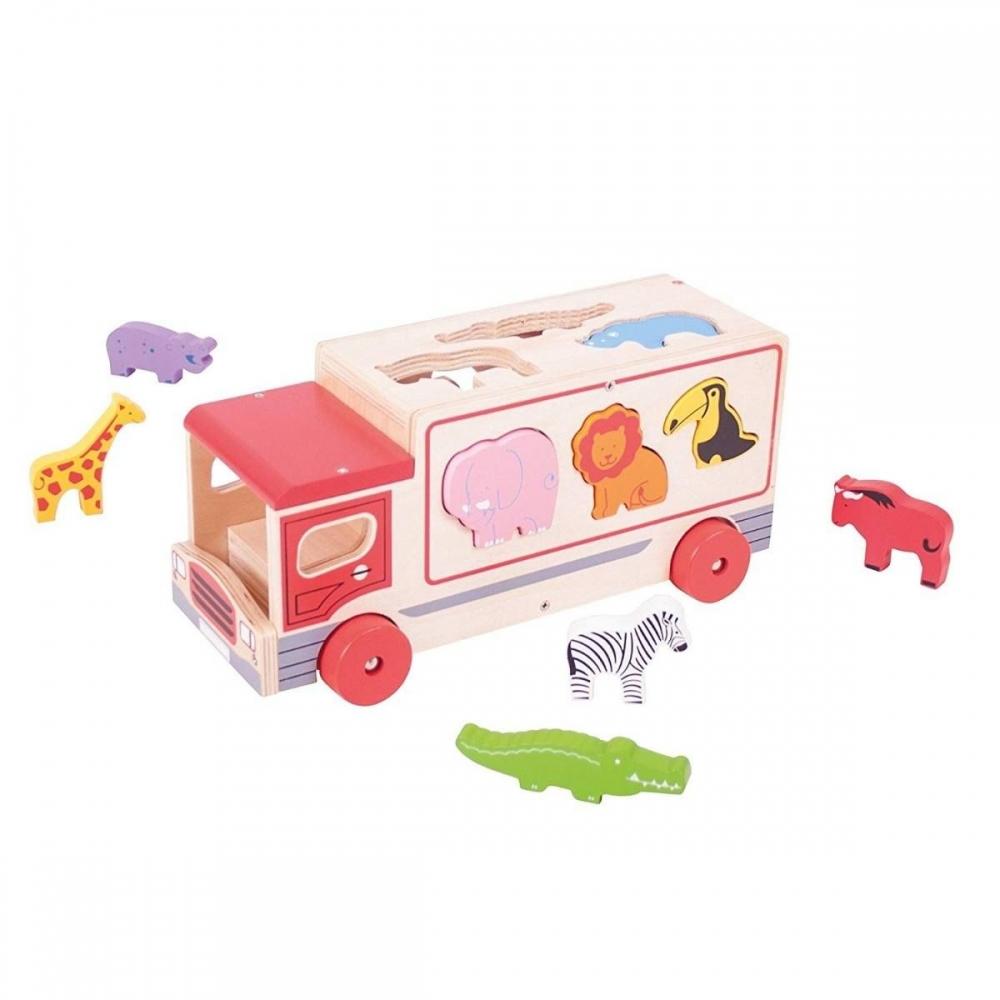 Camion Safari pentru sortare cu 9 animale din lemn