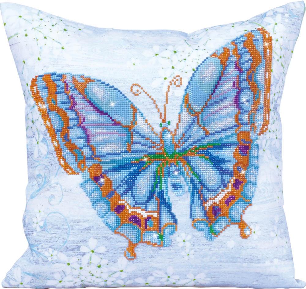 Fata de perna decorativa cu diamante - Fluture albastru