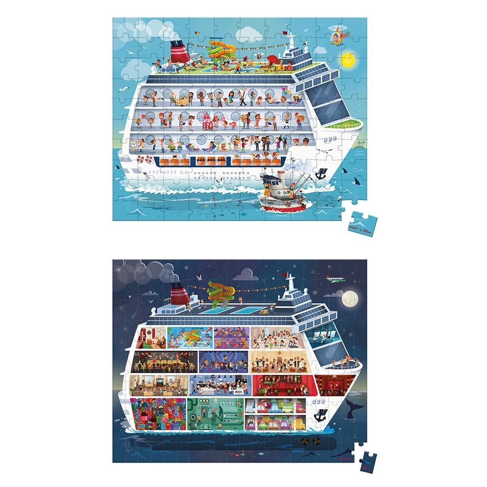 Set de 2 puzzle-uri din carton (100 si 200 de piese) si 2 postere - Nave de croaziera